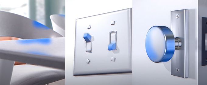 light switch and doorknob highlighting germy surfaces