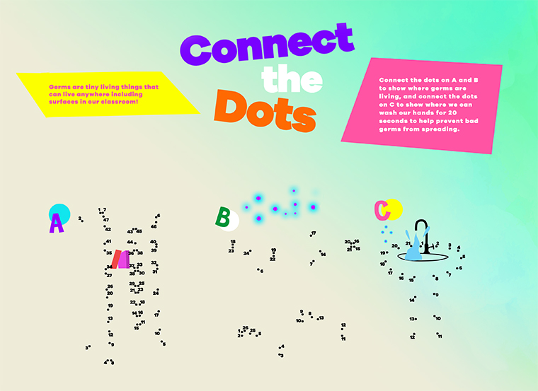 Connect the dots puzzle printout that teaches children about germs and washing hands