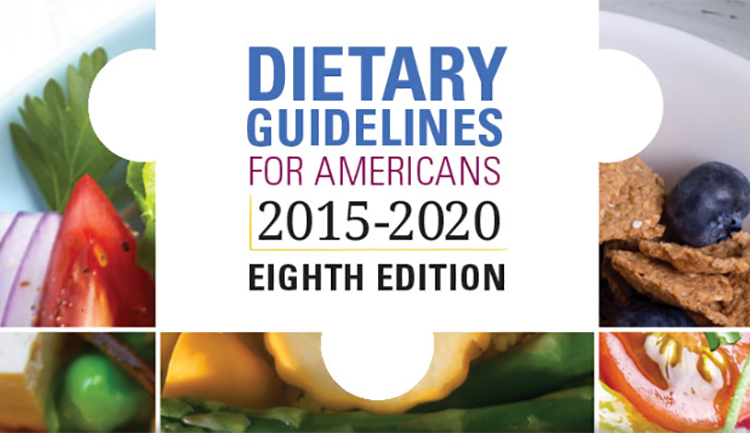 "5 different foods. Text says ""dietary guidelines for americans 2015-2020 eighth edition"""