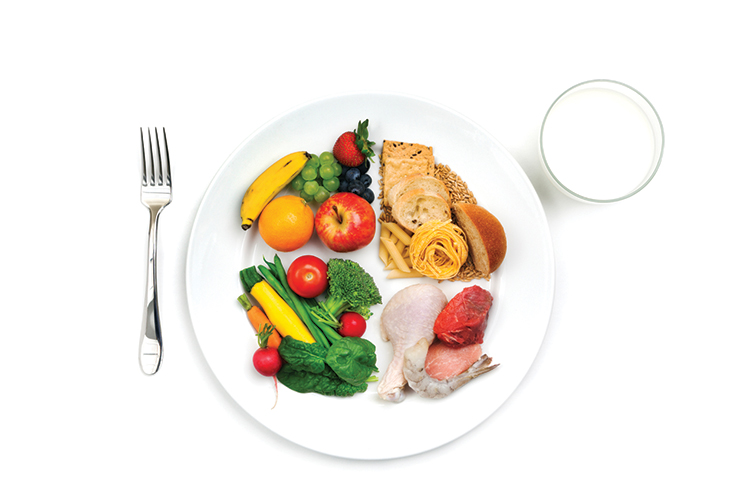 Glass of milk next to plate with each quarter containing a different food group of protein vegetables fruit and grain