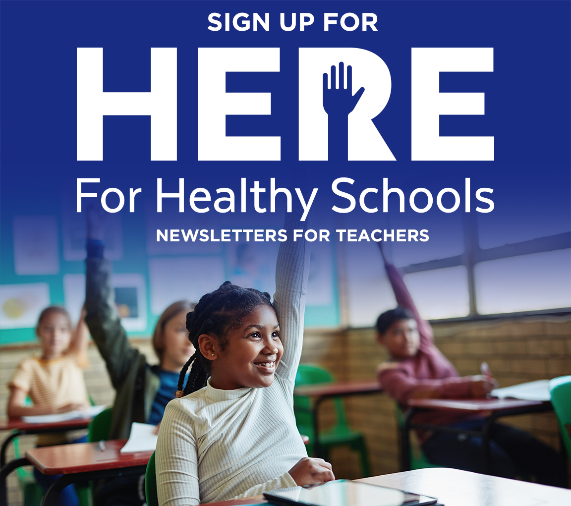 Children in a classroom, eagerly raising their hands with the Here for Healthy Schools newsletters logo at the top of the image