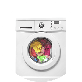 washing machine with clothes in it