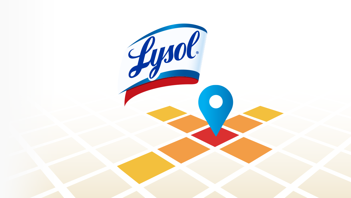 A vector based grid with a pinpoint representing the Lysol Germcast App and a Lysol logo above