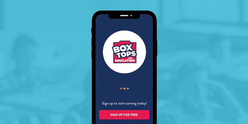 "Box Tops app. Text says ""Sign up to start earning today. Sign up for free"""
