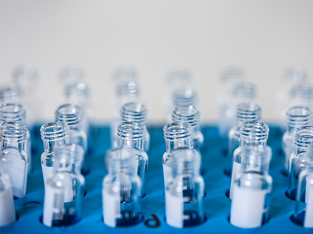 Glass vials in a laboratory.