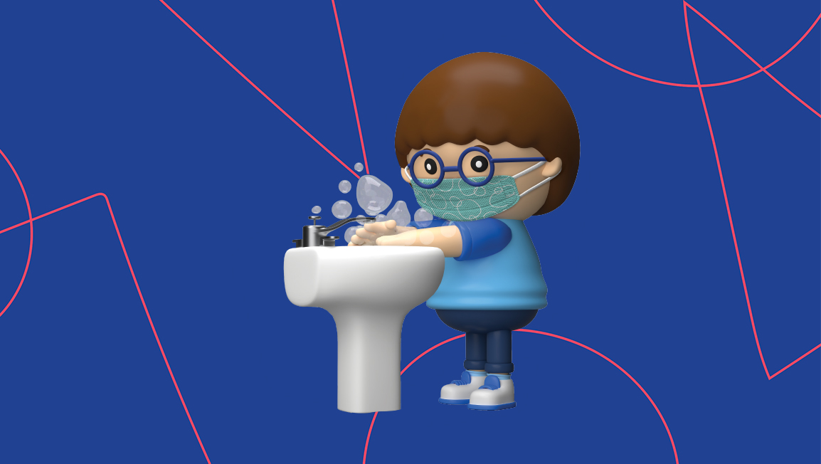 Cartoon child washing hands over a sink with a face mask on.