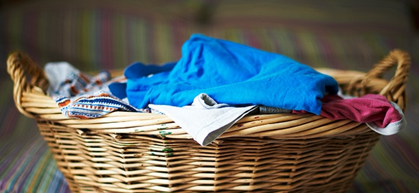 Basket of unfolded laundry