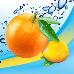An orange and a lemon on a background of bubbles.